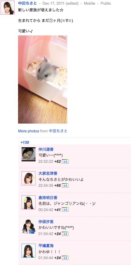 中田ちさとさん(ちいちゃん)の google+ぐぐたすより