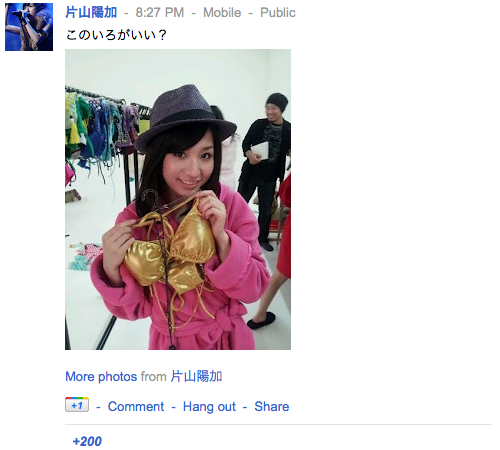 片山陽加さんの google+ はーちゃん ぐぐたす