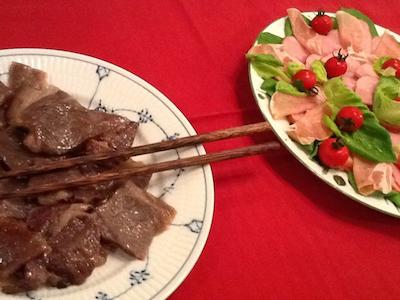 ワタ鍋 肉と前菜