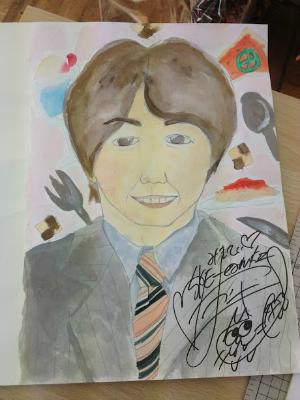 AKBカフェ繁松さんの似顔です*  水彩画タッチに描いてみました。*